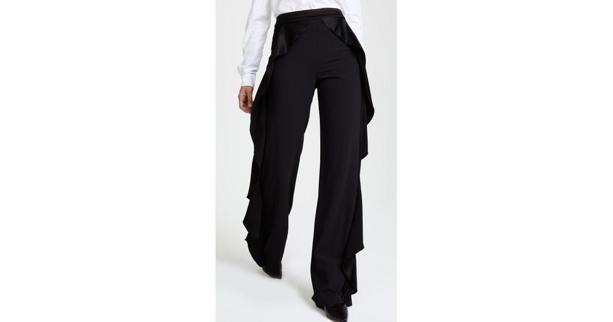 6b91dab89c64 Alice + Olivia Wallace Side Ruffle Pants in Black - Lyst