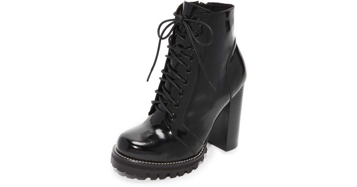 294c57352 Jeffrey Campbell Legion Lace Up High Heel Booties in Black - Lyst