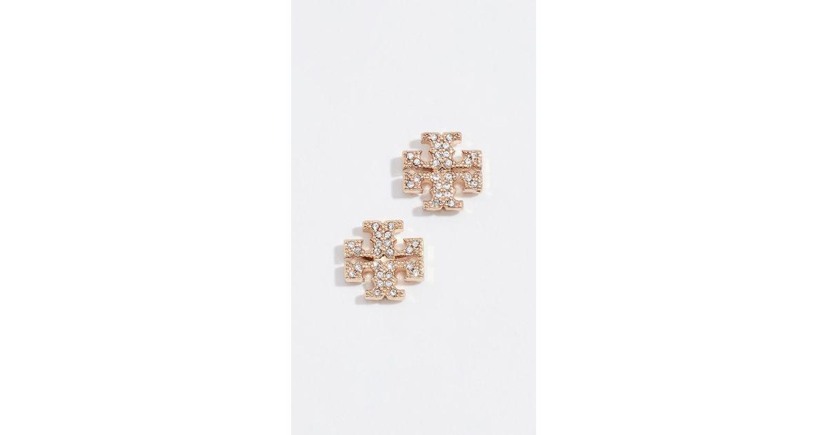 d4d6536f3b1 Tory Burch Crystal Logo Stud Earrings In Yellow Lyst