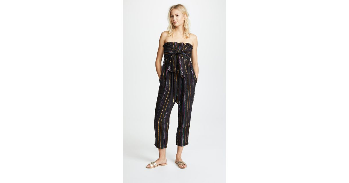 65ba23117e9 Lyst - Apiece Apart Strapless Striped Jumpsuit in Black