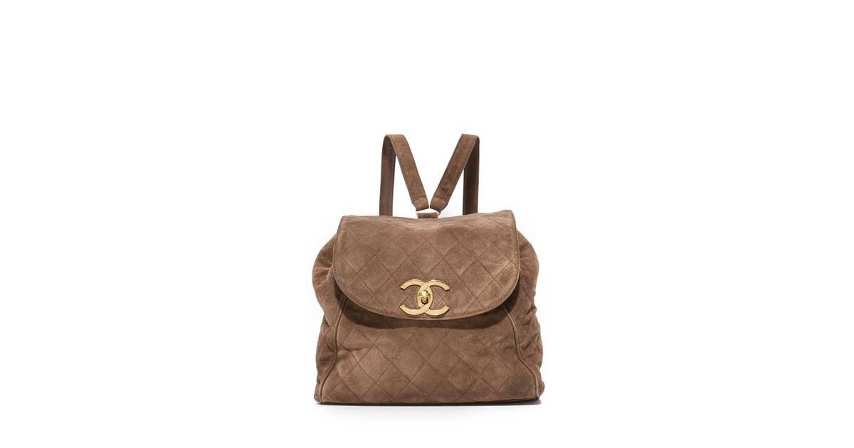3c6e08476dee What Goes Around Comes Around Chanel Suede Backpack (previously Owned) in  Brown - Lyst