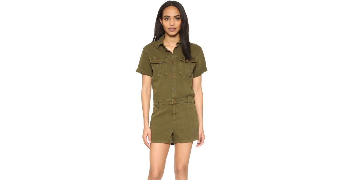 43325533136 Lyst - AG Jeans Rhoda Utility Romper in Green