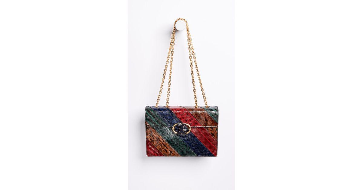8661b1dbaed8 Lyst - Tory Burch Gemini Link Chain Snake Shoulder Bag