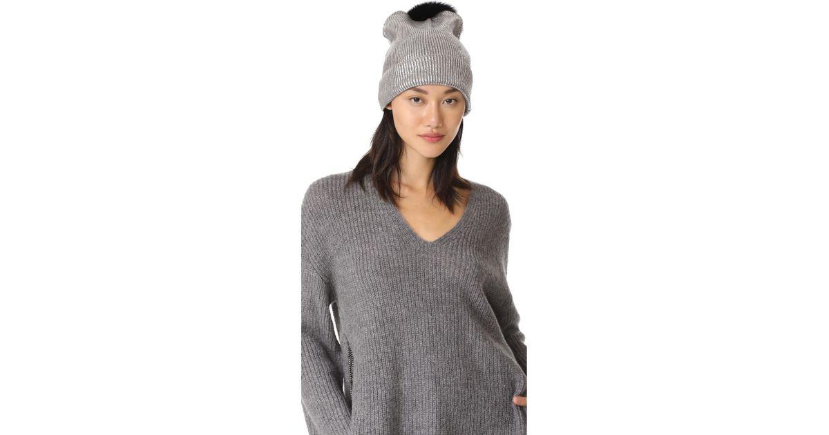 02197943c3a Lyst - Jocelyn Metallic Beanie Pom Hat in Metallic