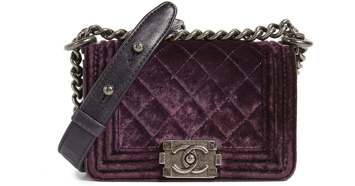 833223ac5a11 What Goes Around Comes Around Chanel Velvet Boy Mini Bag (previously Owned)  in Purple - Lyst