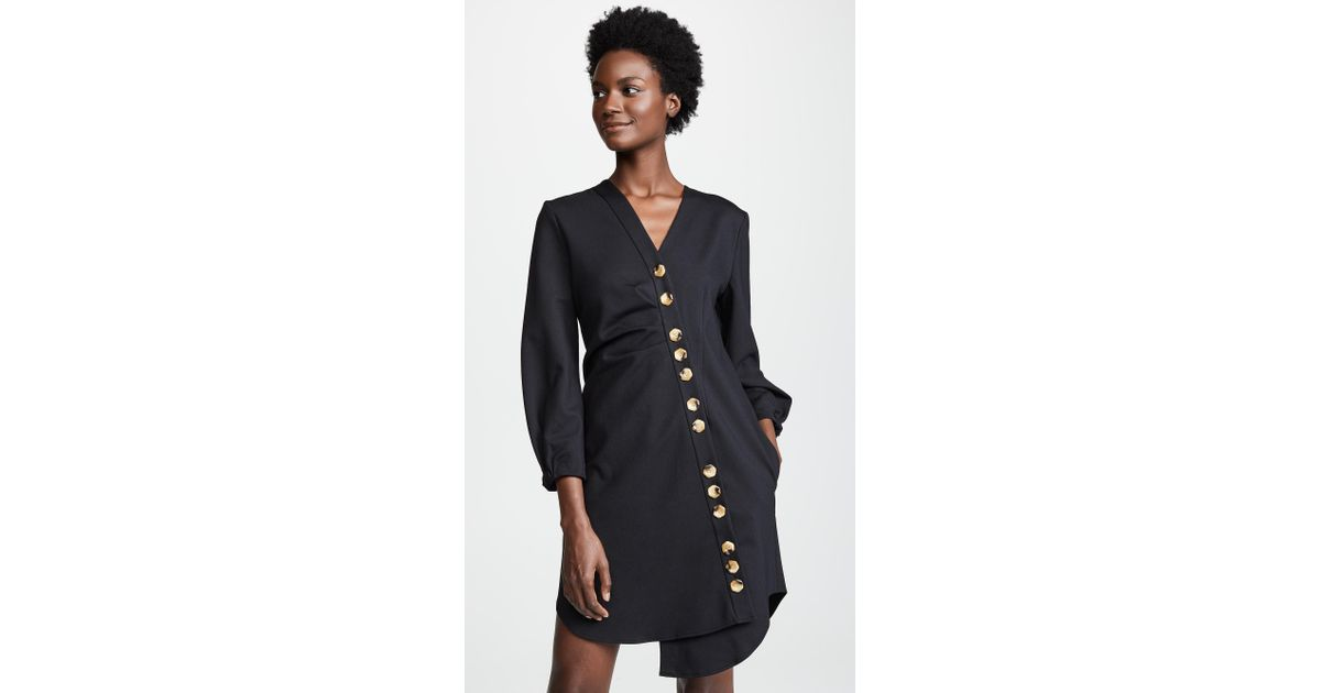 13849c8f51cd Tibi Asymmetric Shirt Dress in Black - Lyst