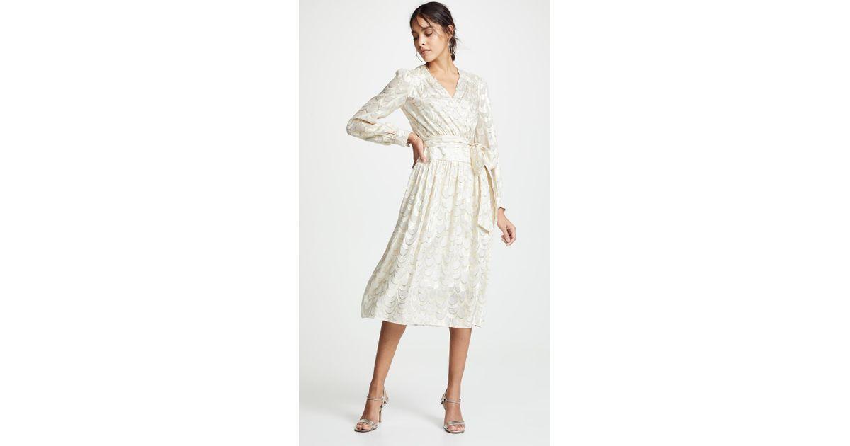 276666415b4c MILLY Katy Wrap Midi Dress - Lyst
