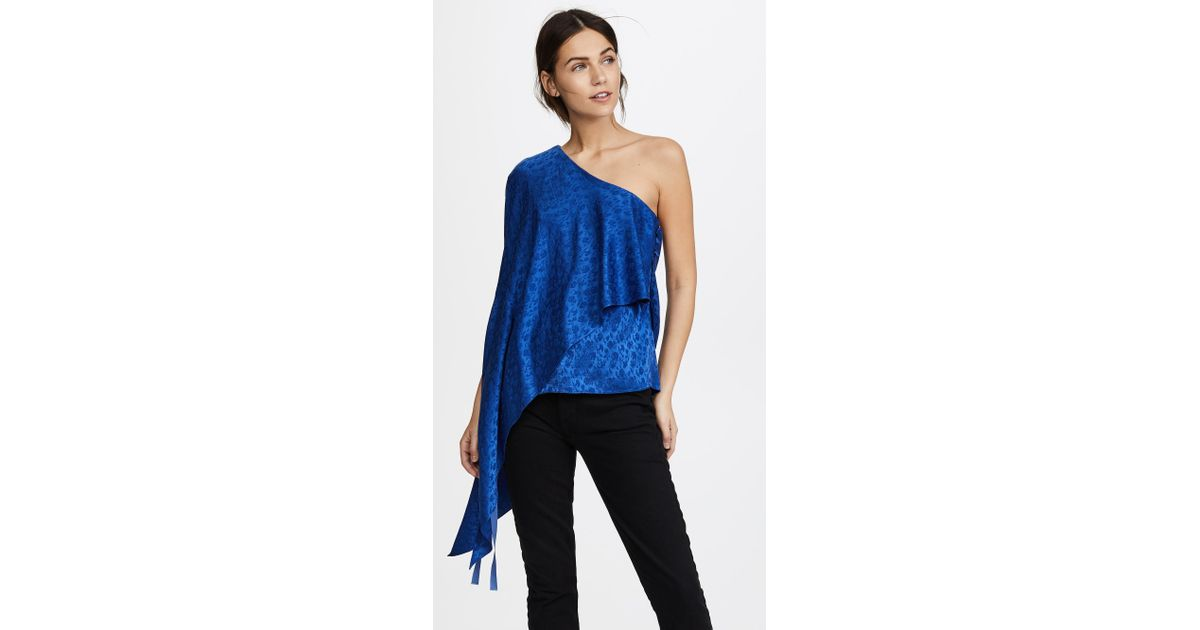 0c52d51d7ea207 Lyst - Hellessy Xenia Off Shoulder Cape Top in Blue