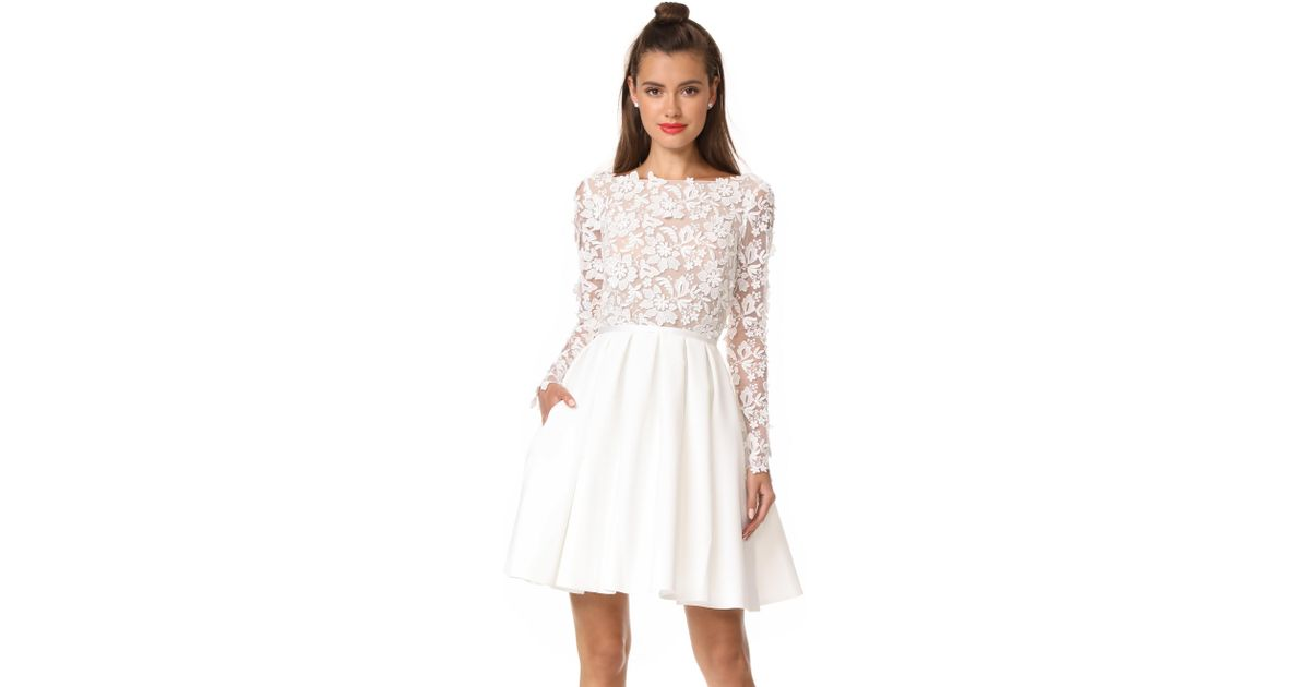 Gillian Ruffled Lace Mini Dress - White Rime Arodaky Discount Fake Prices Online For Sale Official Site quWWbR1Wlq