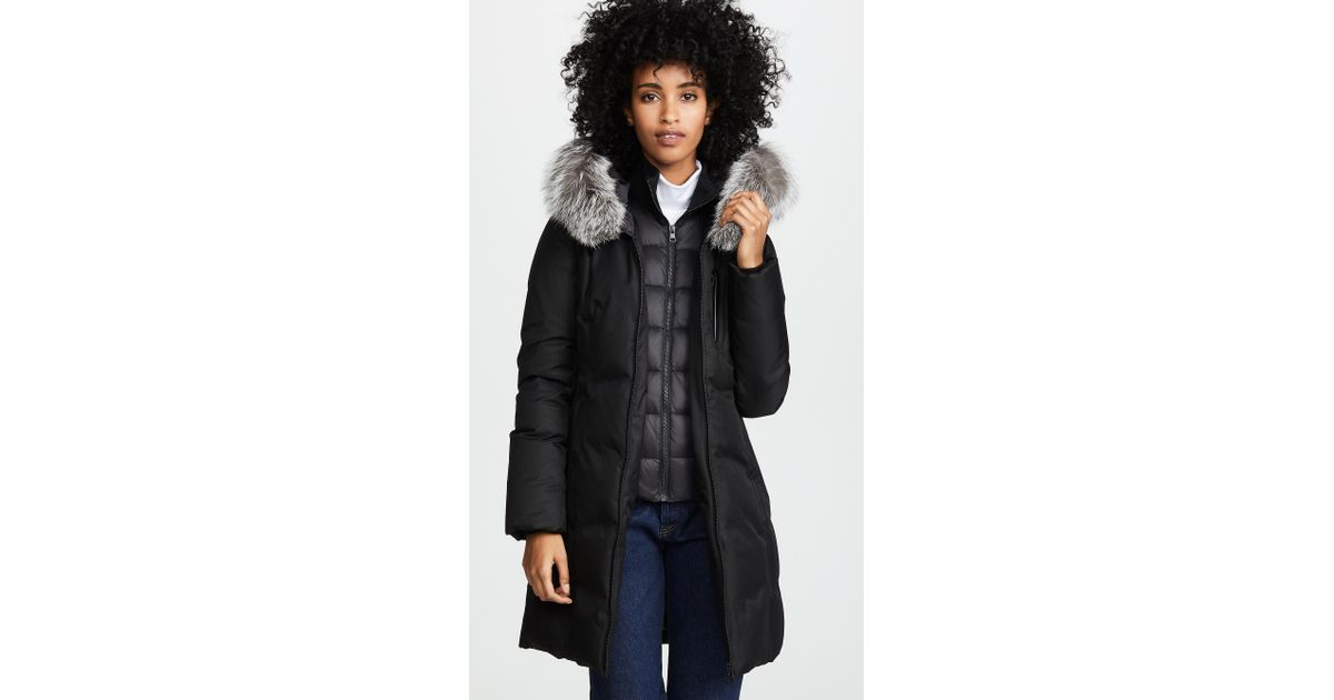 f947ac30a58 Lyst - SOIA   KYO Christy Brushed Down Coat in Black