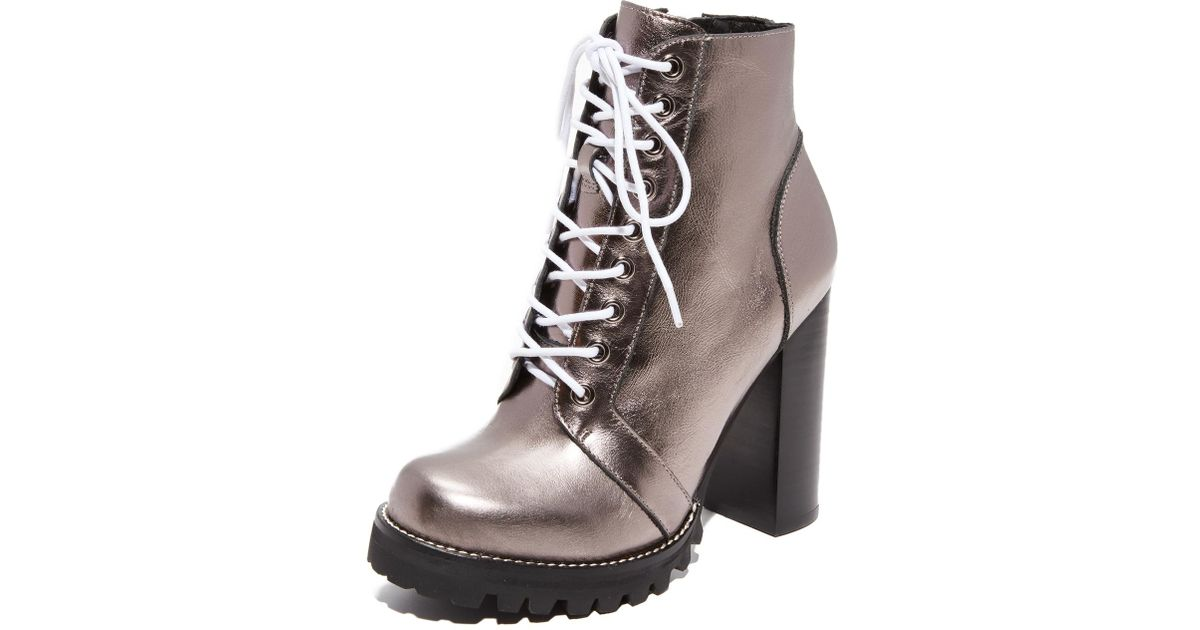 aa55aa0f99b Lyst - Jeffrey Campbell Legion Lace Up High Heel Booties