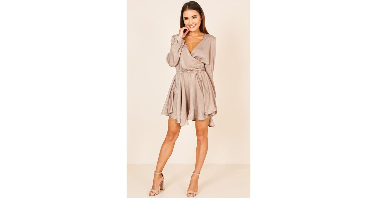 36ec0ad21cc Lyst - Showpo Dont Bring Me Down Playsuit In Beige in Natural