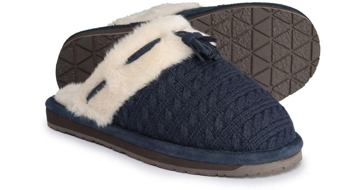 85d0e0b27ca1 Lyst - Clarks Cable Sweater Scuff Slippers (for Women) in Blue