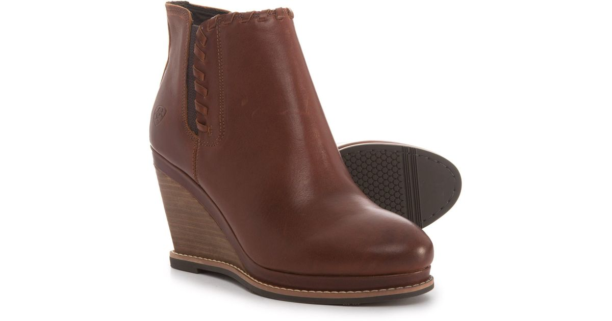 31e882164c1 Lyst - Ariat Belle Wedge Ankle Boots in Brown