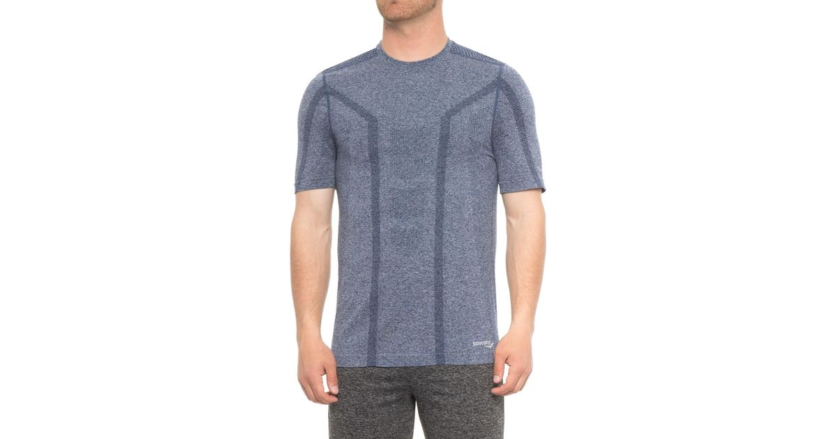3035456f Lyst - Saucony Seamless Body-mapped Heathered Shirt in Blue for Men