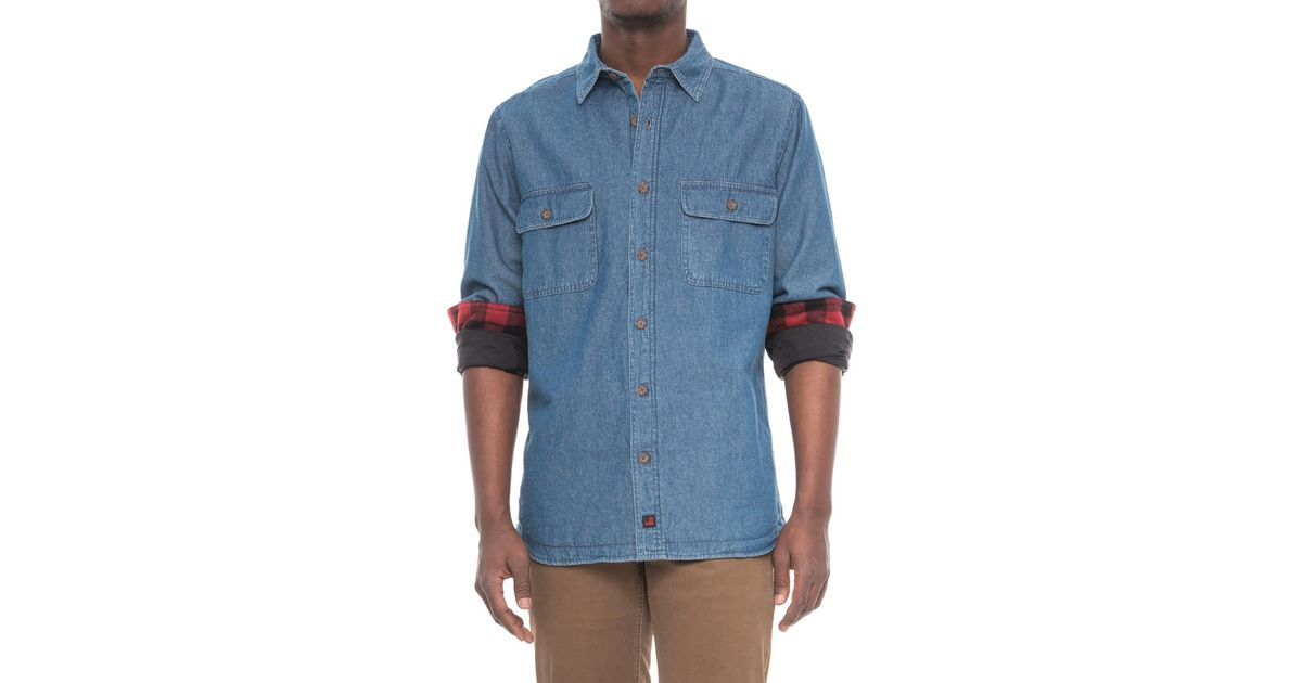 c0477d0d46 Lyst - Woolrich Fleece-lined Denim Shirt Jacket (for Men) in Blue for Men