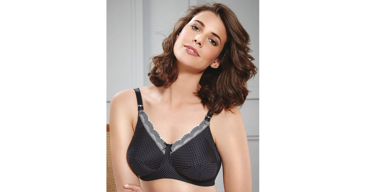 4f8c48636ea4d Royce Ava Black cream Spot Nursing Bra in Black - Lyst