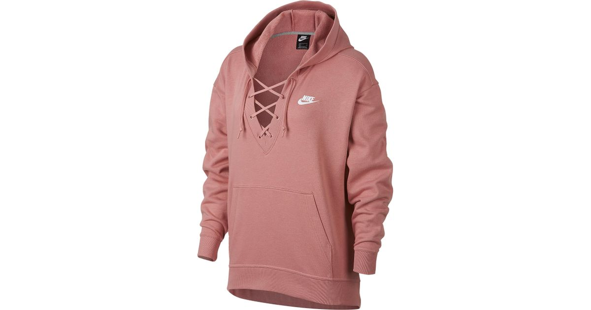2646f73b5136 Lyst - Nike Rally Lace-up Hoodie in Red