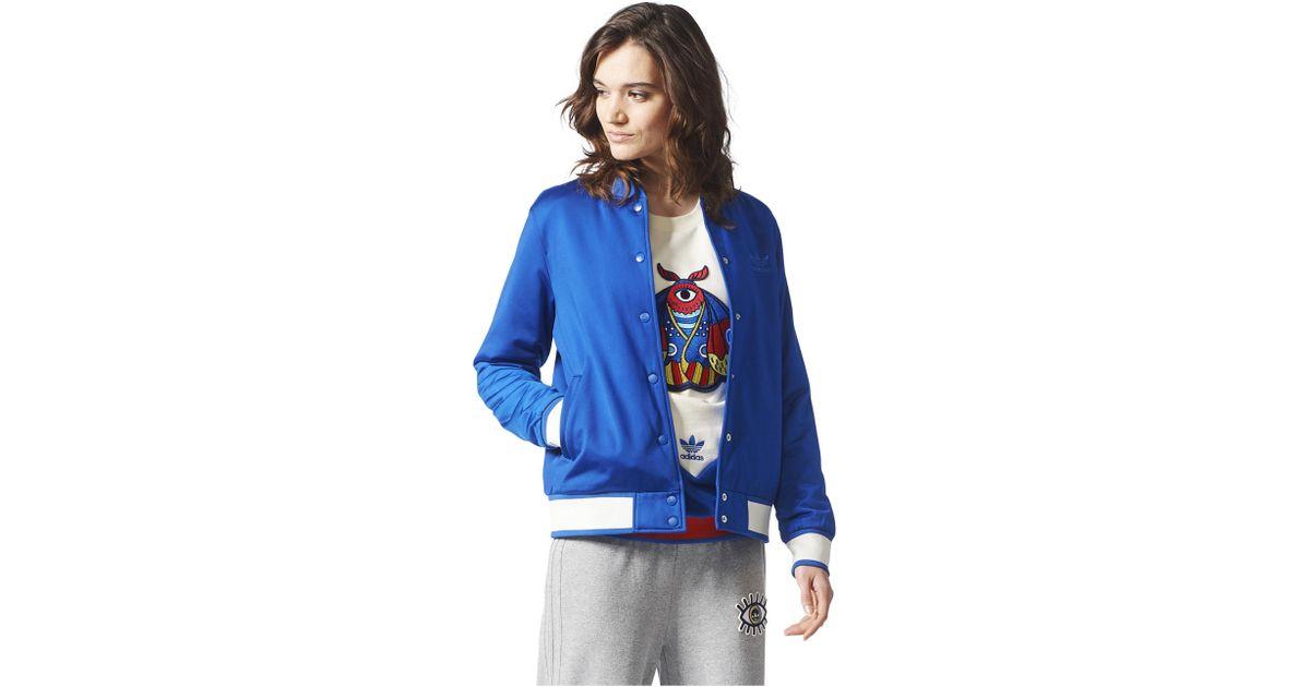 00b52ab56 Adidas Originals - Blue Embellished Arts Bomber Jacket - Lyst