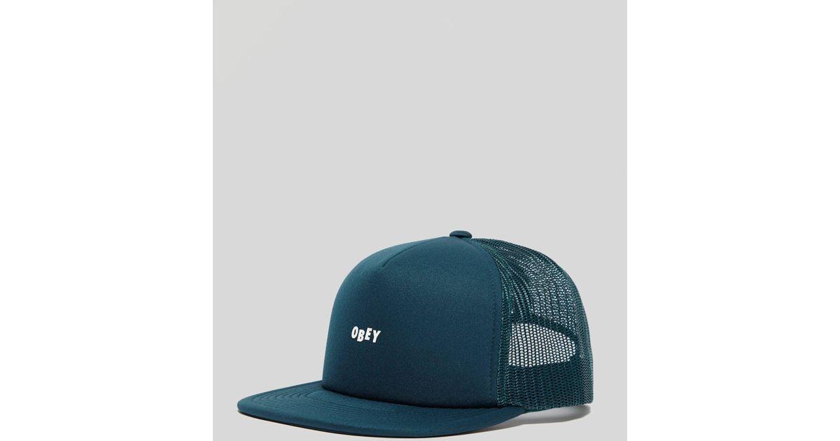 e2295887b1852 Lyst - Obey Jumble Bar Trucker Cap in Blue for Men