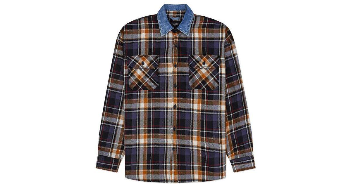3934c937cf Lyst - Fear Of God Denim Collared Flannel Shirt in Blue for Men