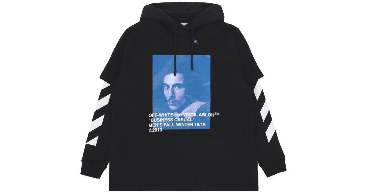 3c9211c5c34 Off-White c o Virgil Abloh Diagonal Bernini Hooded Sweatshirt for Men - Lyst