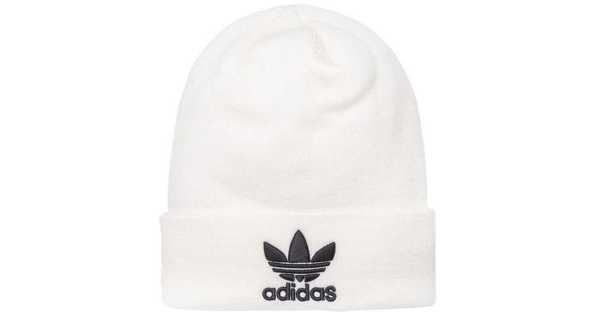 dfa0ffd771e adidas Trefoil Beanie in White for Men - Lyst