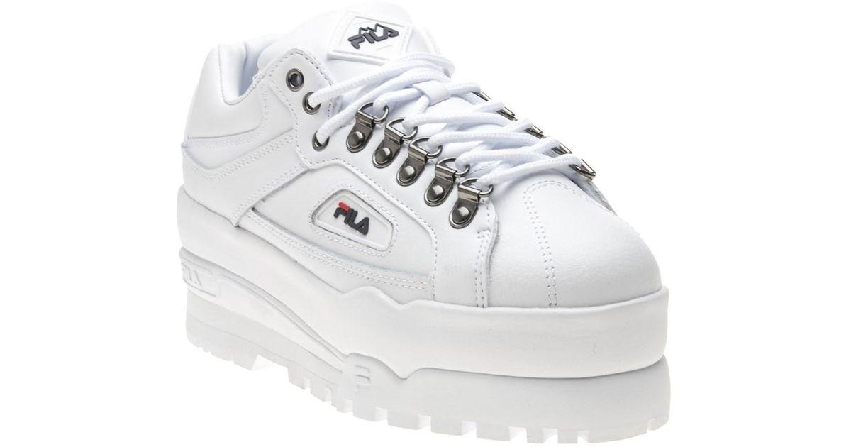 4ed359c0 Fila - White Trailblazer Wedge Trainers - Lyst