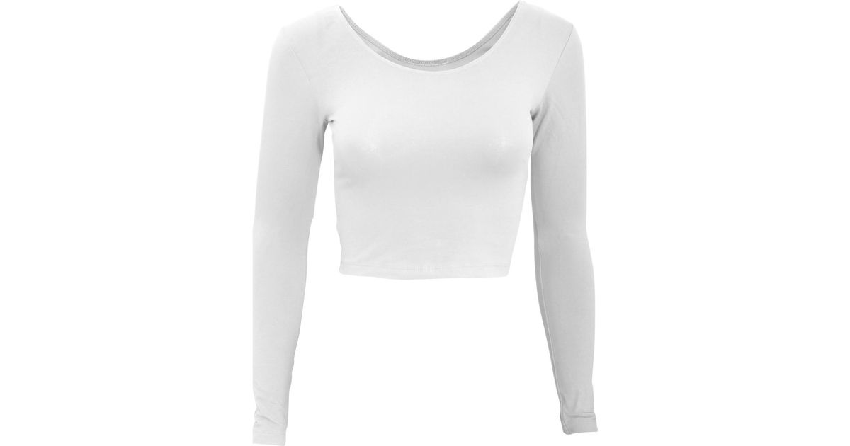 American Apparel Womens ladies Plain Long Sleeve Cropped T-shirt Women s In  White in White - Lyst 4f6069ec32