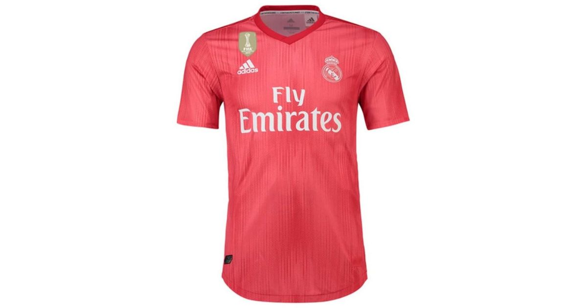 56e83d43d52e4 adidas 2018-2019 Real Madrid Authentic Third Football Shirt Men's T Shirt  In Red in Red for Men - Lyst