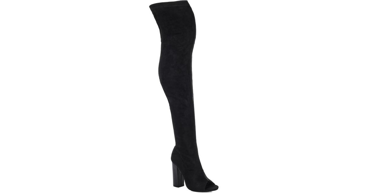 029f2d63641e Women's Shoes Womens Open Peep Toe Block Heel Over Knee Tall Boots