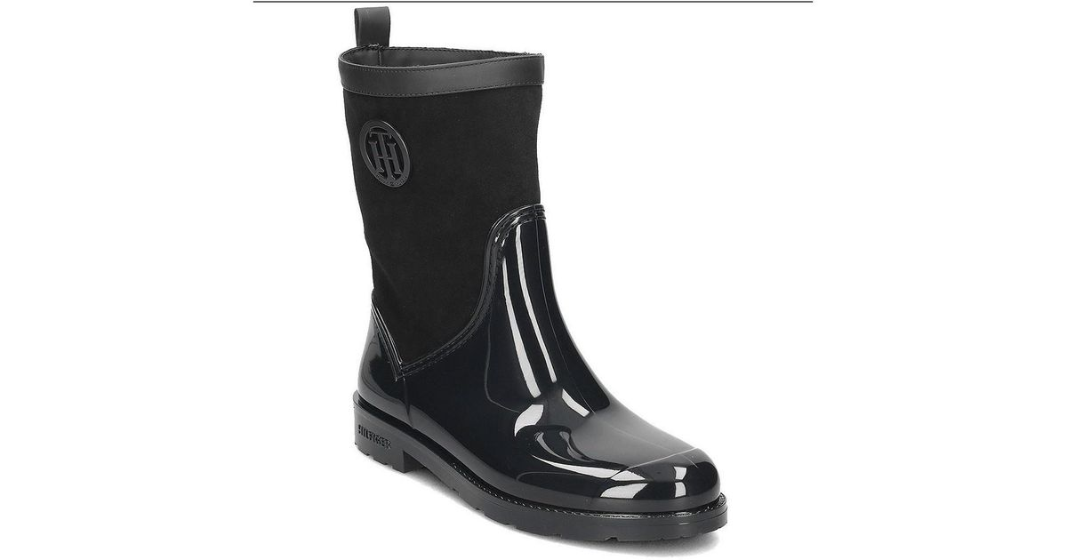 7e8ff9fc4ccd Tommy Hilfiger Oxford 8rw Women s Wellington Boots In Black in Black - Lyst