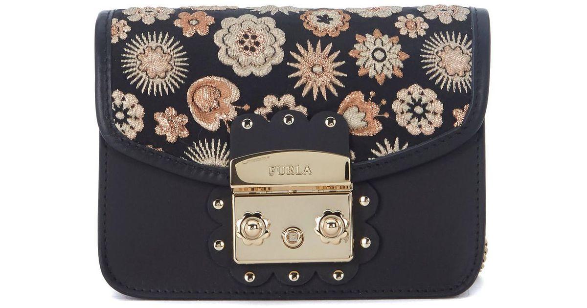sito affidabile b0682 c41dd Furla Borsa A Tracolla Metropolis Mini In Pelle Nera Con Fiori Men's  Shoulder Bag In Black