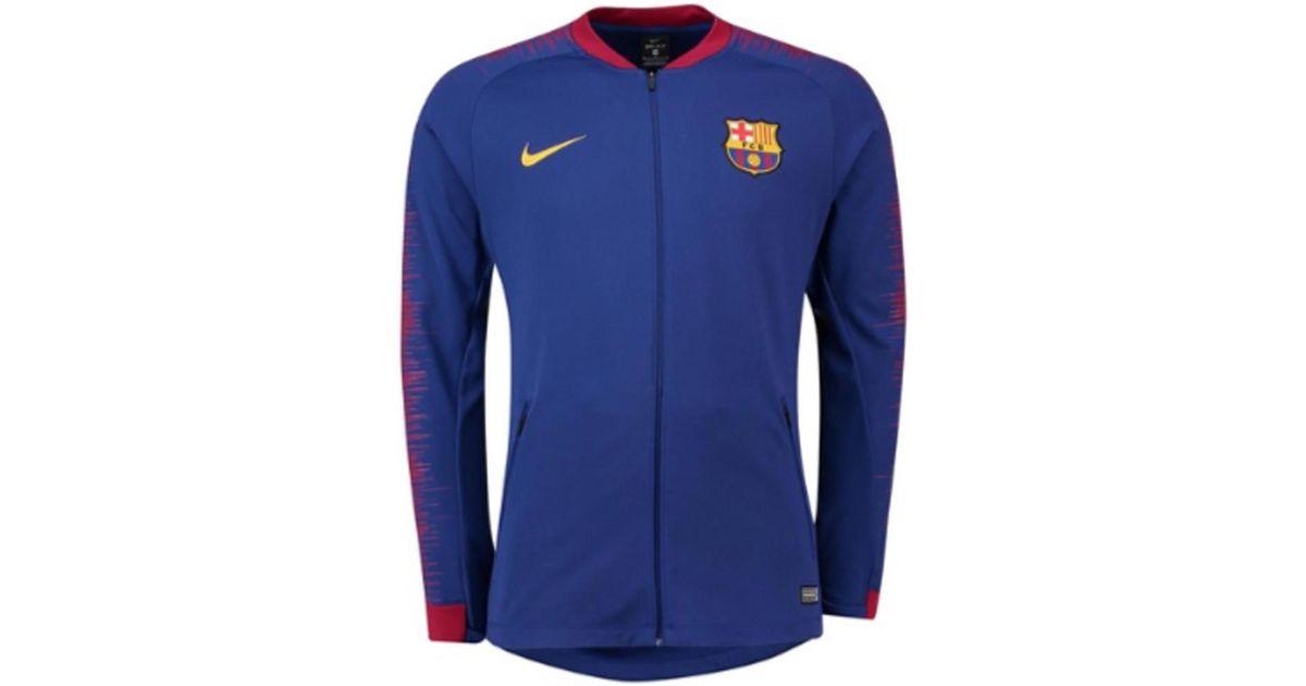 66711197f Nike 2018-2019 Barcelona Anthem Jacket Men's Tracksuit Jacket In Blue in  Blue for Men - Lyst