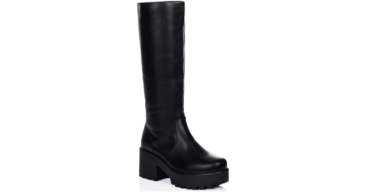 b403437be28 SPYLOVEBUY Rockford Platform Block Heel Knee High Biker Boots - Black Leat  Women s High Boots In Black in Black - Lyst