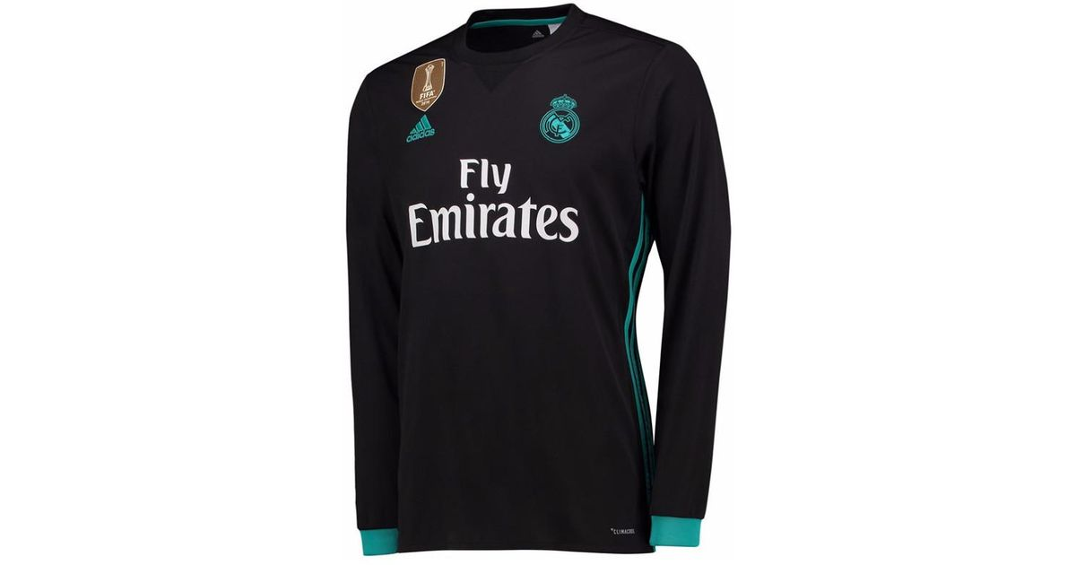 best authentic 96645 4173f Adidas - 2017-18 Real Madrid Away Long Sleeve Shirt (benzema 9) Men's In  Black for Men - Lyst