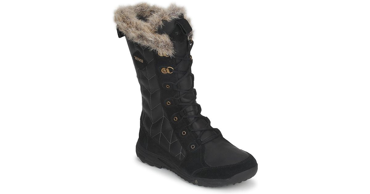 184ab3dc9970f Teva Lenawee Leather Wp Women s Snow Boots In Black in Black - Lyst
