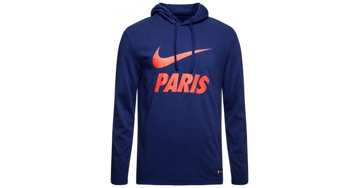 e10b3631b Nike 2018-2019 Psg Core Hooded Top Women's Sweatshirt In Blue in Blue - Lyst