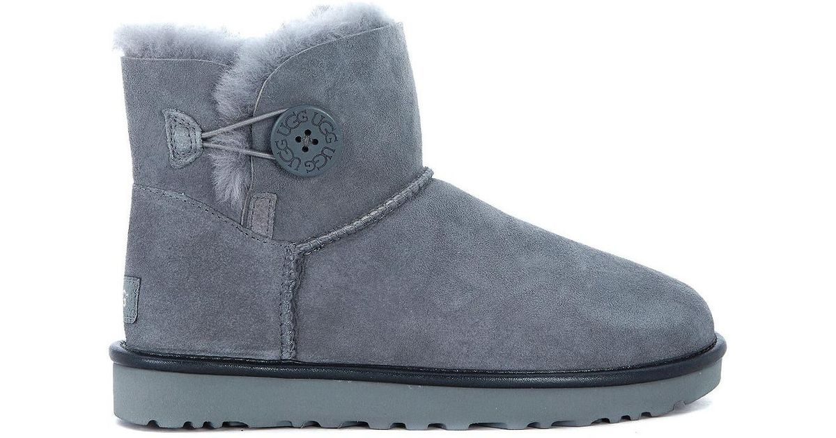 1255f9a030e Ugg Gray Mini Bailey Button Grey Sheepskin Ankle Boots Women's Mid Boots In  Grey