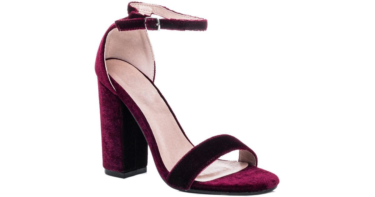 acf1722641c SPYLOVEBUY Sass Open Peep Toe Block Heel Sandals Shoes - Burgundy Velvet S  Women s Sandals In Red in Red - Lyst