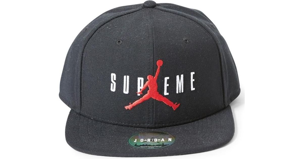 a15c925444c0 ... cheap supreme x air jordan 2015 snapback cap black mens cap in black in  black for