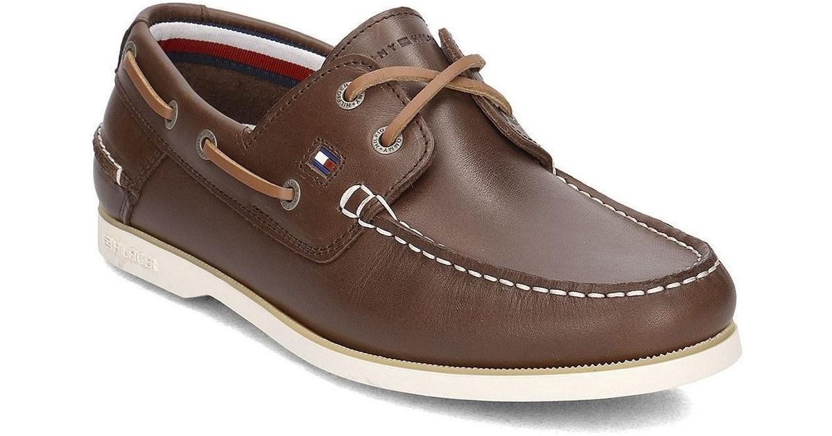 c89766df8 Tommy Hilfiger Classic Leather Boatshoe Men s Boat Shoes In Brown in Brown  for Men - Lyst