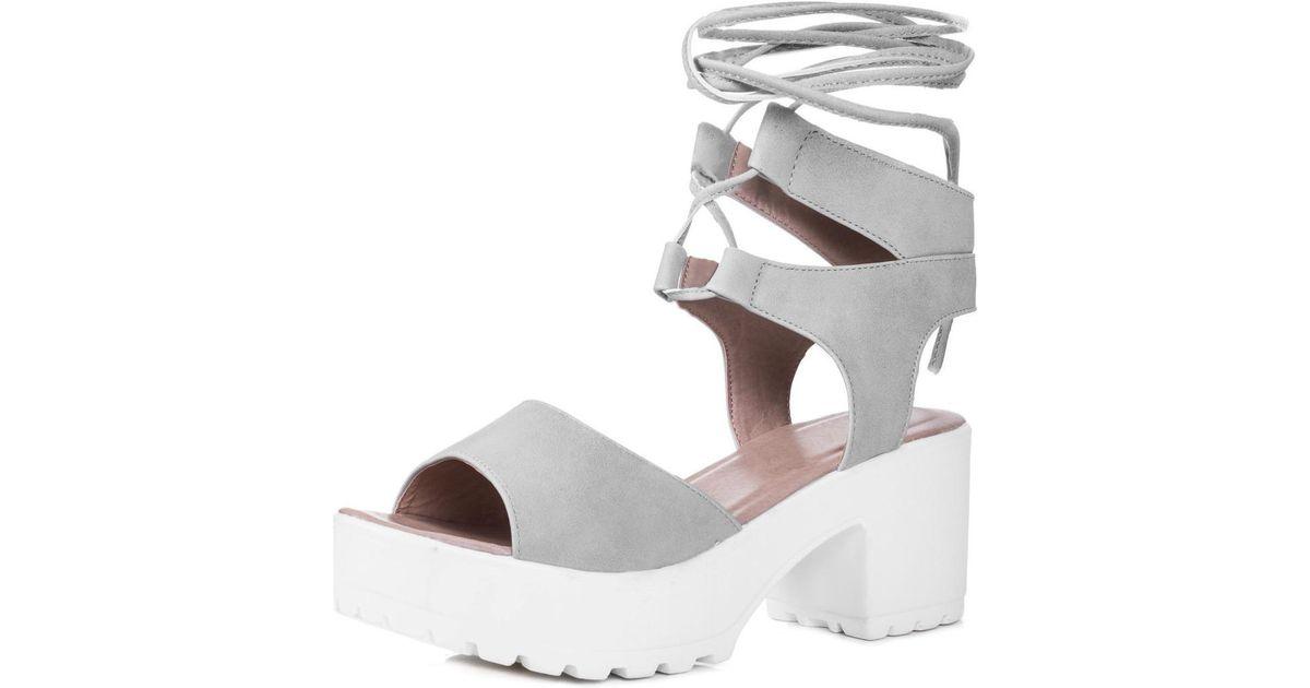 42c33439f3b44 Spylovebuy - Gray Molly Open Peep Toe Mid Heel Sandals Shoes - Stone  Leather Styl Women's Sandals In Grey - Lyst