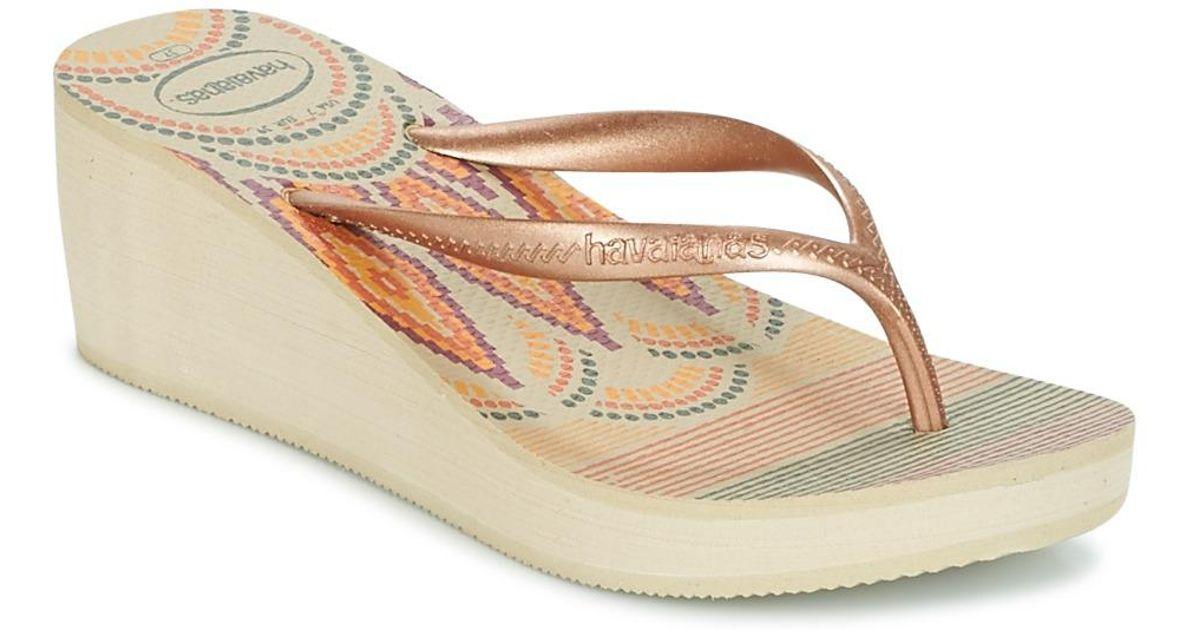 c7b5e32d96a7 Havaianas High Fashion Print Women s Flip Flops   Sandals (shoes) In Beige  in Natural - Lyst