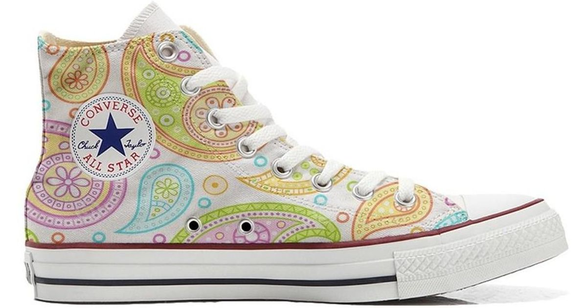 f8196065e0d458 Converse Original Customized With Printed Italian Style Handmade Shoes Co  Women s Shoes (high-top Trainers) In White in White - Lyst