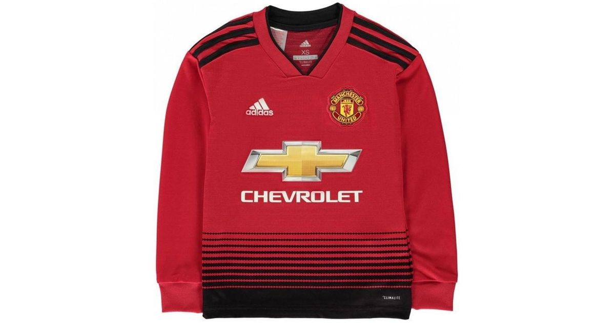 bc53aad55 adidas 2018-2019 Man Utd Home Long Sleeve Shirt (kids) Girls s In Red in  Red for Men - Lyst