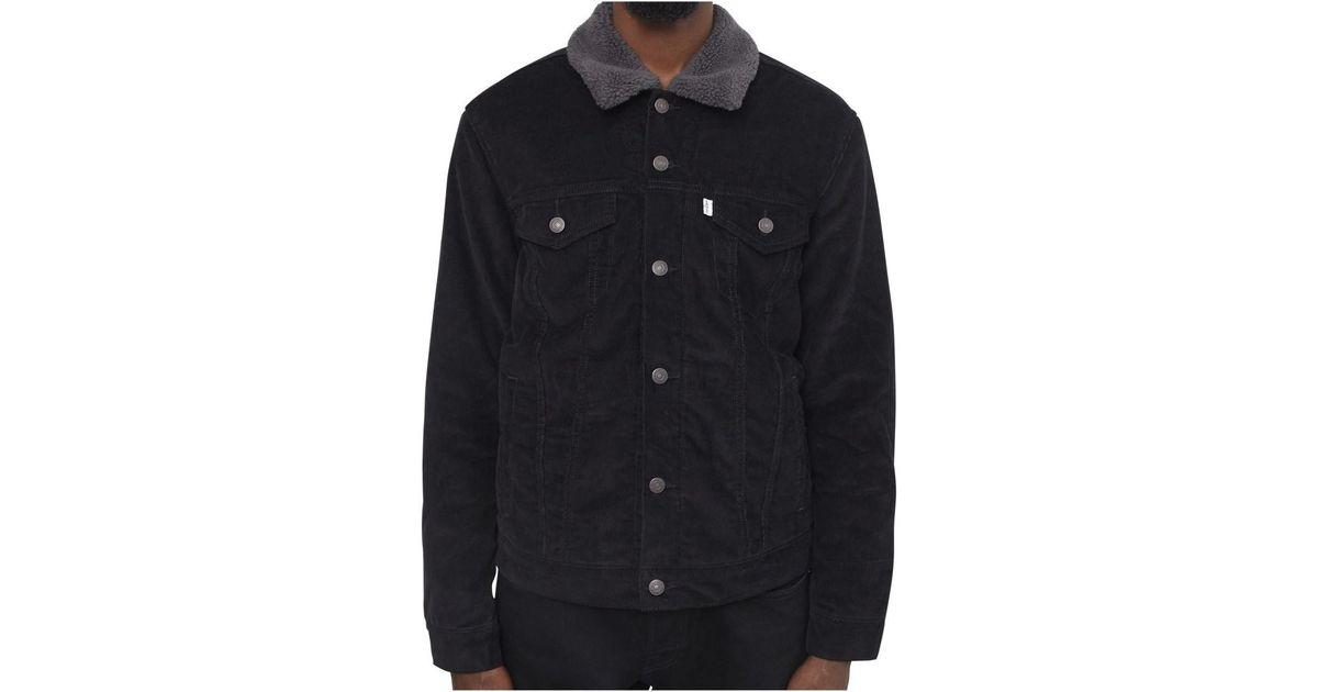 1ba9a26f865e Levi's Levis Corduroy Sherpa Trucker Jacket Black Men's Denim Jacket In  Black in Black for Men - Lyst