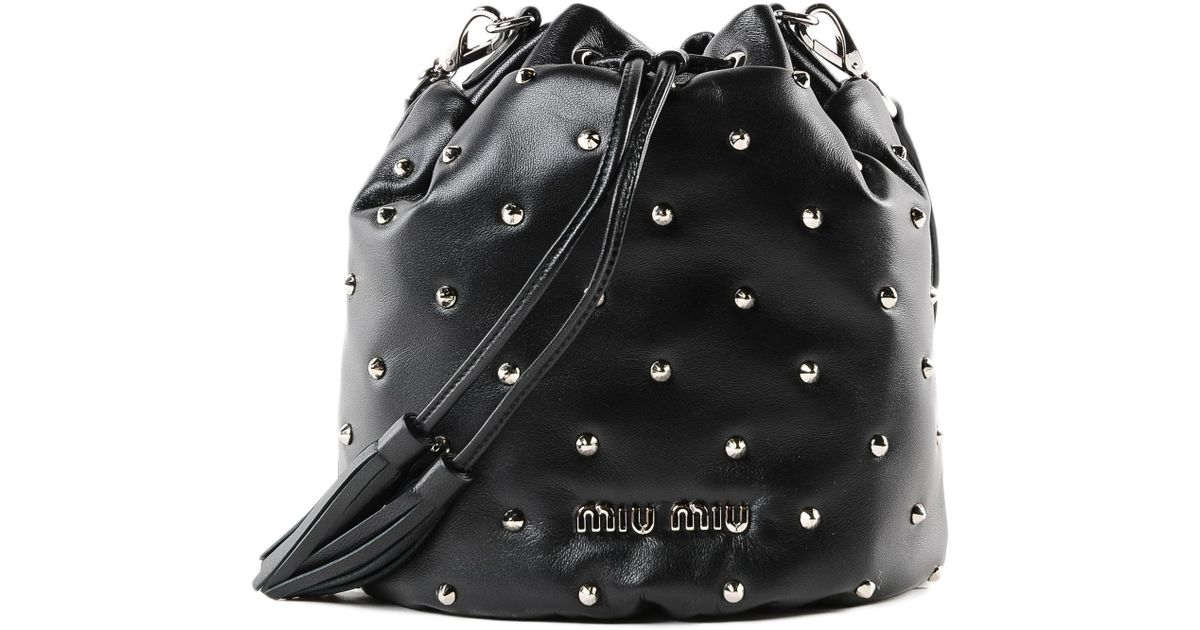 Lyst - Miu Miu Lambskin Diamante` Satchel in Black afca802571344