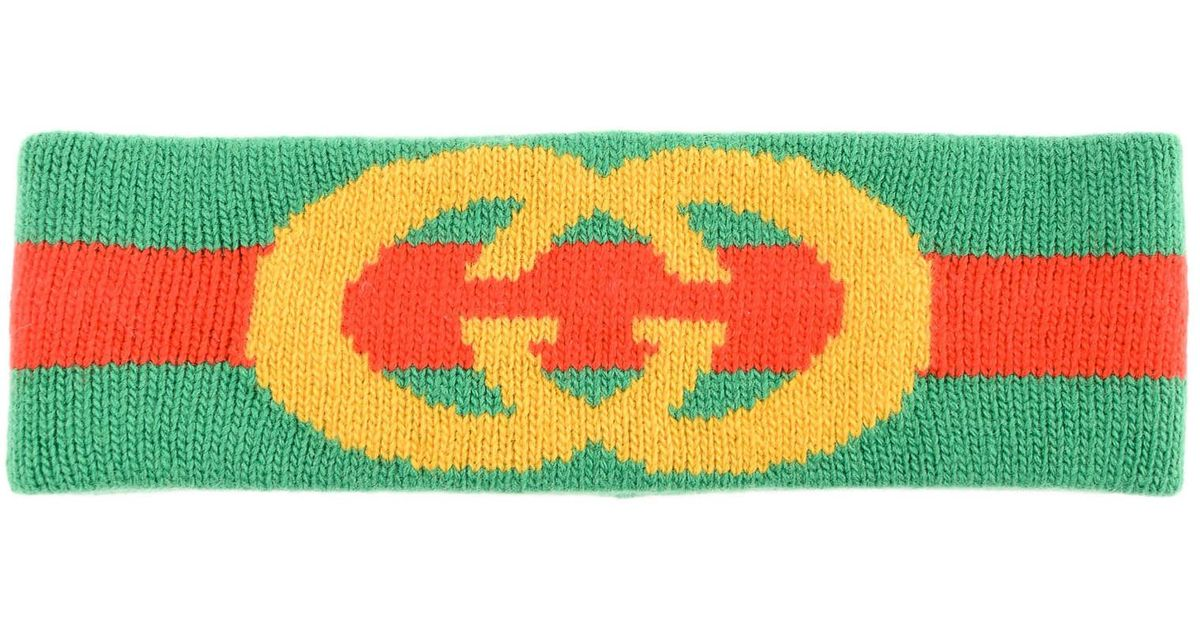b8ff6d0328c Lyst - Gucci Web Wool Headband With Interlocking G in Green - Save 19%