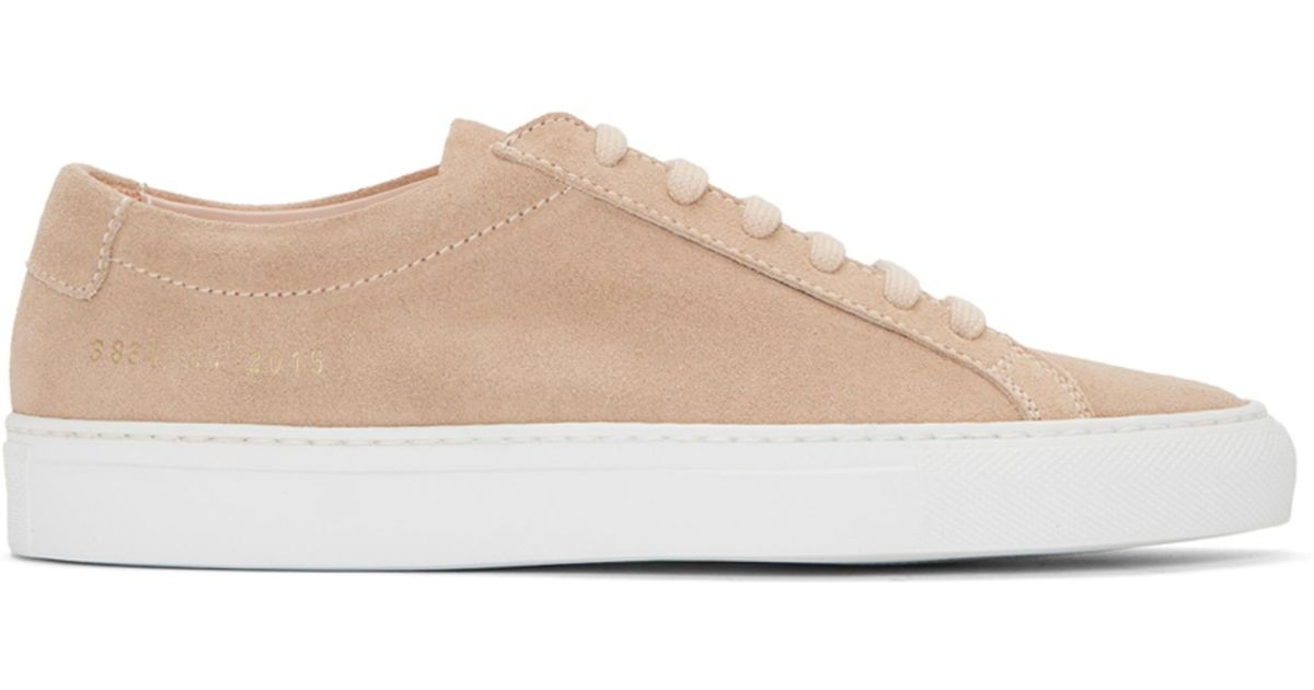 Common Projects Pink & White Suede Original Achilles Low Sneakers